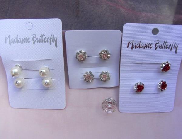 Haarcurlies jew. 4er Packung Blüte rosé, Blüte rot, Perle