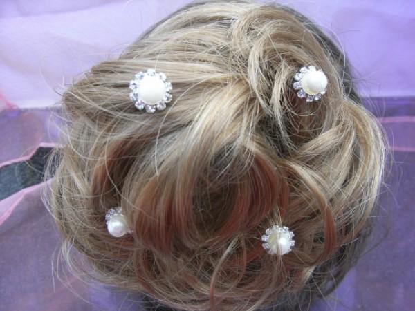 Haarnadel, weiß, 4er Packung, festliche Frisur, Hochzeit